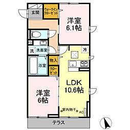 京王相模原線 南大沢駅 徒歩15分の賃貸アパート 2階2LDKの間取り