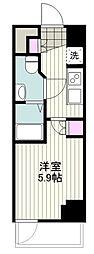 BANDOBASHI KNOTS 8階1Kの間取り