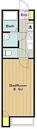 京王線 聖蹟桜ヶ丘駅 バス14分 中和田下車 徒歩4分の賃貸アパート 2階1Kの間取り