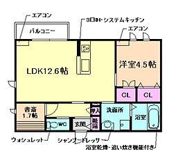 (仮称)豊中市上新田ヘーベルメゾン 2階1LDKの間取り