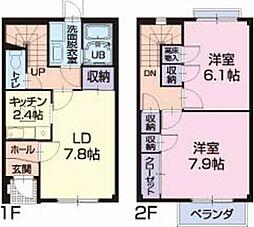 静岡県牧之原市勝間の賃貸アパートの間取り
