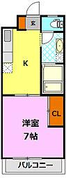 栃木県小山市三峯1丁目の賃貸マンションの間取り