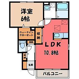 栃木県小山市神鳥谷2の賃貸アパートの間取り