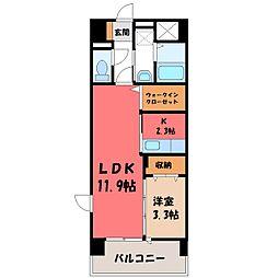 栃木県下野市駅東5の賃貸マンションの間取り