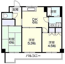 神奈川県横浜市都筑区荏田東2丁目の賃貸マンションの間取り
