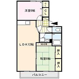 福岡県久留米市津福今町の賃貸アパートの間取り