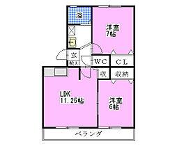 キャロルステージISHII[205号室]の間取り