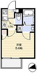西武新宿線 花小金井駅 徒歩8分の賃貸アパート 2階1Kの間取り