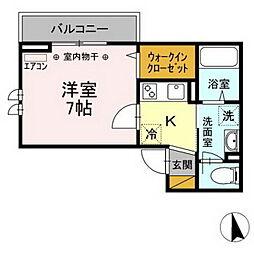 京成本線 菅野駅 徒歩10分の賃貸アパート 2階1Kの間取り