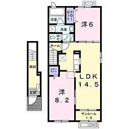 富山県富山市八尾町福島6丁目の賃貸アパートの間取り