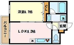 冨士プレジオ 1階1LDKの間取り
