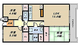 パールハイツ堺[6階]の間取り