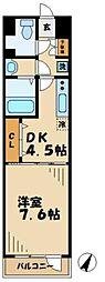 京王相模原線 京王多摩センター駅 徒歩10分の賃貸マンション 2階1DKの間取り