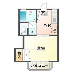 愛知県豊橋市錦町の賃貸アパートの間取り