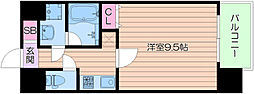 Osaka Metro御堂筋線 なんば駅 徒歩5分の賃貸マンション 2階1Kの間取り