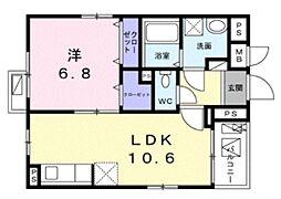 リズルーム 4階1LDKの間取り