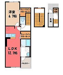 雀の宮2丁目アパート(025558901) 3階1LDKの間取り