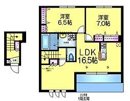 東武野田線 増尾駅 徒歩33分の賃貸マンション 2階2LDKの間取り