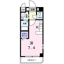 南海高野線 千代田駅 徒歩4分の賃貸マンション 2階1Kの間取り