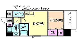 スプランディッド三国II 3階1DKの間取り