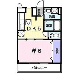 カーサ・フィオーレII 2階1DKの間取り
