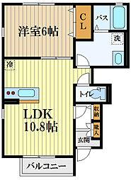 JR青梅線 羽村駅 徒歩8分の賃貸アパート 1階1LDKの間取り