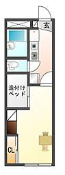 愛知県豊川市国府町流霞の賃貸アパートの間取り