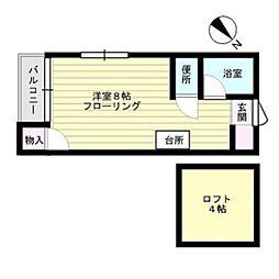 福岡県福岡市中央区高砂1丁目の賃貸アパートの間取り