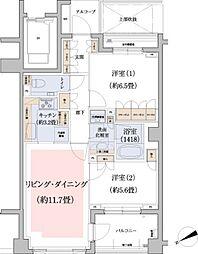 パークハウス玉川岡本[106号室]の間取り