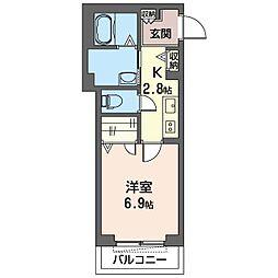 仮)木更津駅前マンション 3階1Kの間取り