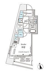 東京メトロ銀座線 表参道駅 徒歩12分の賃貸マンション 7階ワンルームの間取り