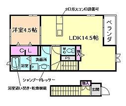 兵庫県川西市西畦野2丁目の賃貸アパートの間取り