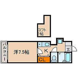 滋賀県長浜市下坂浜町の賃貸アパートの間取り