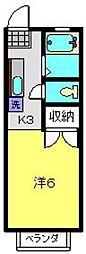 神奈川県横浜市南区南太田3丁目の賃貸アパートの間取り