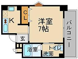 阪急今津線 宝塚南口駅 徒歩5分の賃貸マンション 7階1Kの間取り