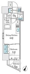 東京メトロ半蔵門線 神保町駅 徒歩3分の賃貸マンション 6階1DKの間取り