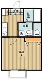 東武東上線 川越駅 徒歩14分の賃貸アパート 1階1Kの間取り