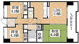 大阪府大阪市平野区西脇1丁目の賃貸マンションの間取り