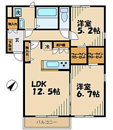 メゾンフルール 1階2LDKの間取り