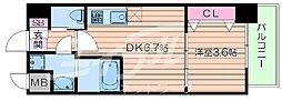 北大阪急行電鉄 緑地公園駅 徒歩10分の賃貸マンション 6階1DKの間取り