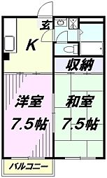 埼玉県所沢市有楽町の賃貸アパートの間取り