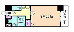 JR大阪環状線 西九条駅 徒歩4分の賃貸マンション 4階1Kの間取り