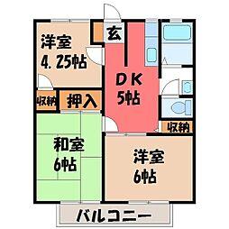 栃木県宇都宮市雀の宮4丁目の賃貸アパートの間取り