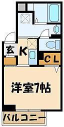 京王線 調布駅 徒歩6分の賃貸一戸建て 3階1Kの間取り