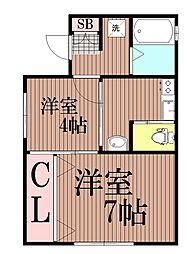 東京都大田区北糀谷2丁目の賃貸マンションの間取り