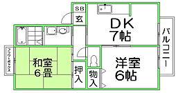 JA吉水ハイツ[2階]の間取り