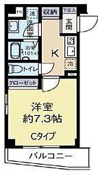 比留間ビル 3階1Kの間取り