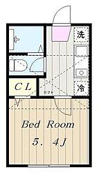 小田急小田原線 読売ランド前駅 徒歩16分の賃貸アパート 2階1Kの間取り