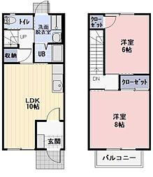 愛知県岡崎市東大友町の賃貸アパートの間取り