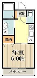JR中央線 八王子駅 バス13分 天神前下車 徒歩2分の賃貸アパート 2階1Kの間取り